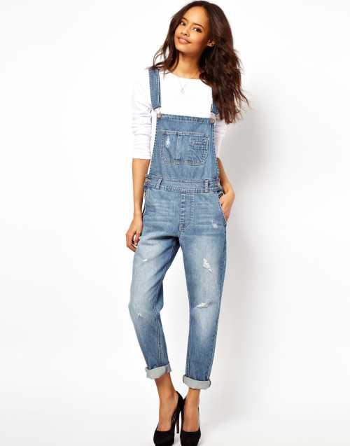 Модный женский джинсовый комбинезон для девушек